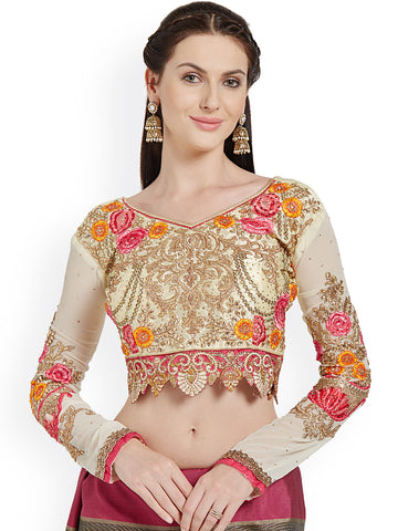 Cream Embroidered Art Silk & Georgette Blouse