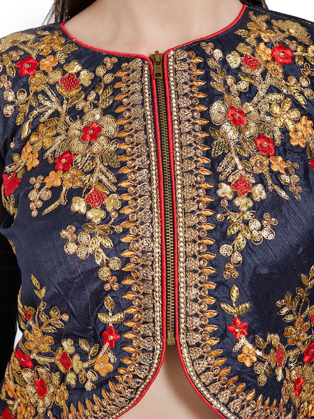 0b4f42ffb Jacket Style Blouse Navy Blue Embroidered Art Silk   Georgette Blouse – Lady  India