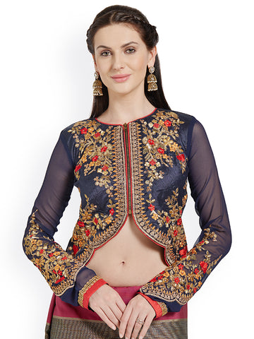 Jacket Style Blouse Navy Blue Embroidered Art Silk & Georgette Blouse Readymade Blouses Online
