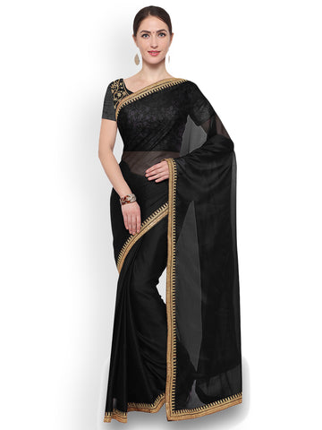 Black Embellished Silk Blend Saree