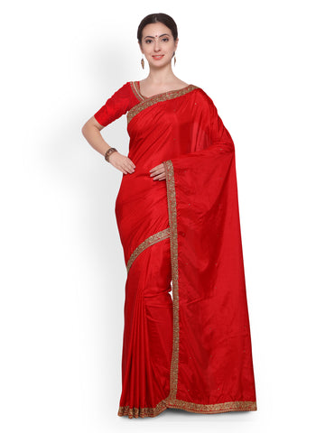 Red Embellished Silk Saree