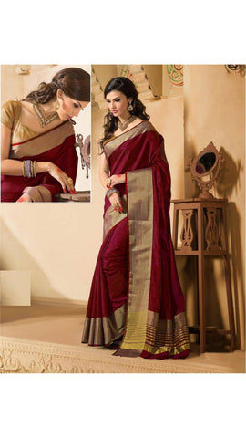 Art Silk Maroon Color Palin Broad Border Cotton Saree S008