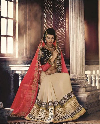 Urban Naari Peach And Beige Colored Pure Marble Georgette Saree