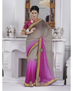 Urban-Naari-Grey-And-Pink-Colored-Chiffon-Embroidered-Saree