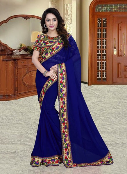 Urban-Naari-21595-Blue-Colored-60-gm-Georgette-Printed-Saree