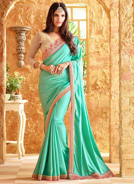 Latest Designer Traditional Sea Green Colored 23699 Bollywood Sari Beautiful Silk Partywear Embroidered Saree For Women