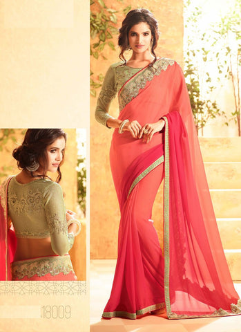 Latest Designer Bollywood Red and Peach Colored 23700 Traditional Beautiful Georgette Sari Partywear Embroidered Saree For Women