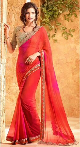 Latest Designer Traditional Red And Pink Colored 23702 Bollywood Sari Beautiful Georgette Partywear Embroidered Saree For Women