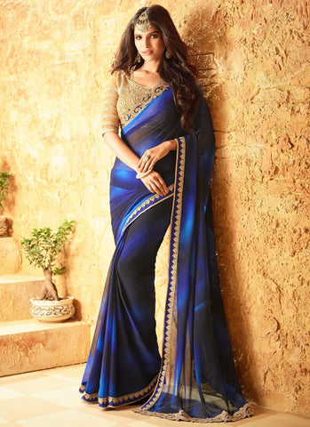 Latest Designer Traditional Blue And Black Colored 23704 Bollywood Sari Beautiful Georgette Partywear Embroidered Saree For Women
