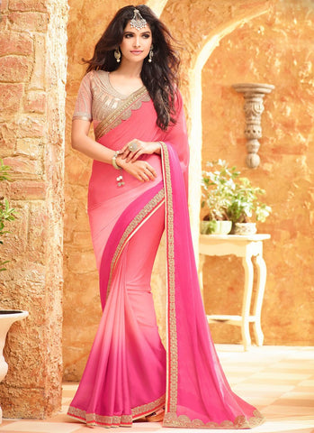 Latest Designer Bollywood Baby Pink Colored 23705 Traditional Beautiful Georgette Sari Partywear Embroidered Saree For Women