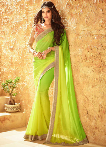 Latest Designer Partywear Green Colored 23708 Bollywood Traditional Sari Beautiful Georgette With Embroidery Work Saree For Women