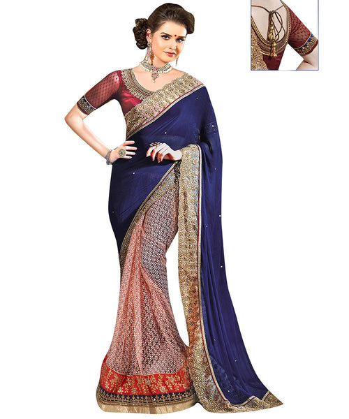 Women's Blue and Peach Georgette and Net Embroidered Half and Half Wedding Wear Net Saree