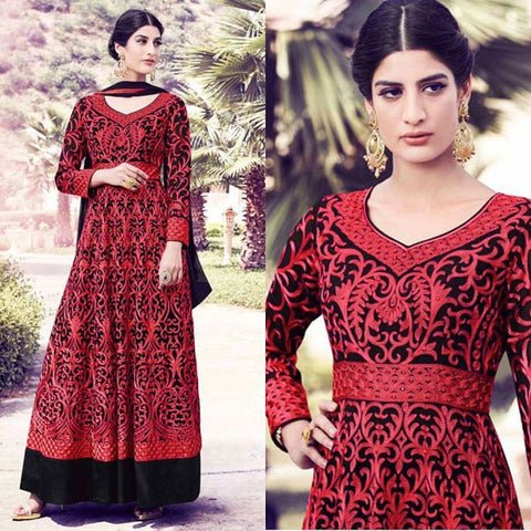Urban-Naari-21970-Black-&-Red-Colored-Semi-Georgette-&-Net-Embroidered-Semi-Stitched-Salwar-Suit