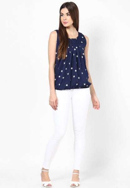 Navy Blue Color Casual Sleeveless Polyester Round Neck Star Print Top