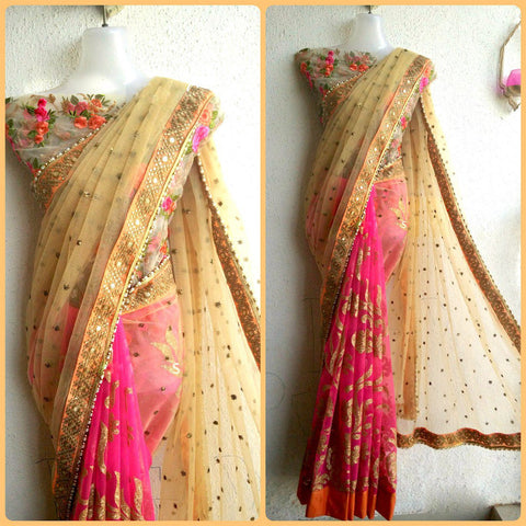 Designer Beige & Pink Color Naylon Net & Georgette Embroidered Party Wear Net Saree With Blouse Piece