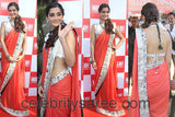 Sonam Kapoor Red Color Designer Saree Chiffon Embroidered Design Festive Wear Saree