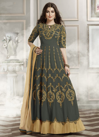 Designer Grey Colored Georgette And Net Embroidered Semi-Stitched Salwar Suit