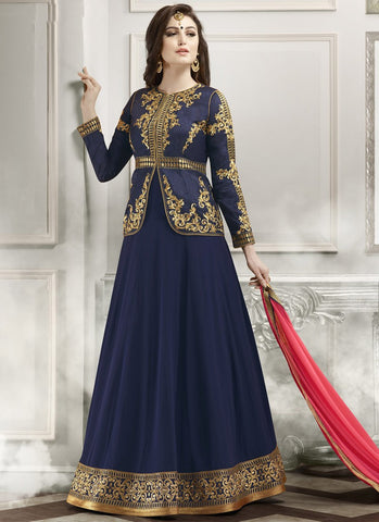 Blue Colored Georgette And Banglori Silk Jacket Embroidered Semi-Stitched Salwar Suit