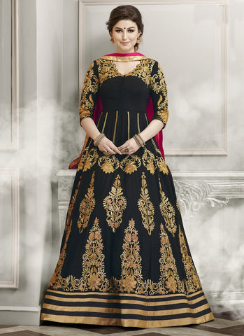 Black Colored Georgette Partywear Salwar Suit With Heavy Embroidery & Zari Work Semi-Stitched Designer Anrkali Suits
