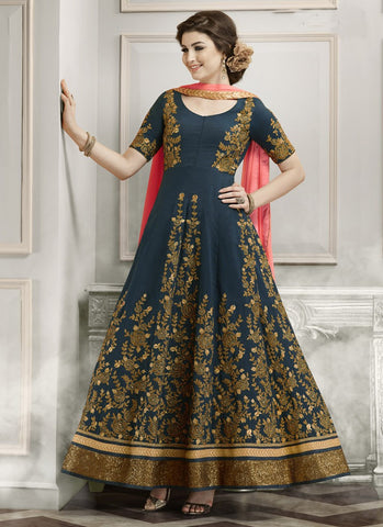 Designer Anarkali Suits Blue Colored Georgette With Heavy Embroidery & Zari Work Semi-Stitched Salwar Suit