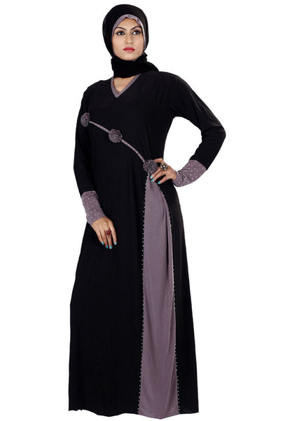 Latest Abaya Black & Dusty Grey Colored Lycra Stitched Muslim Abaya Dress