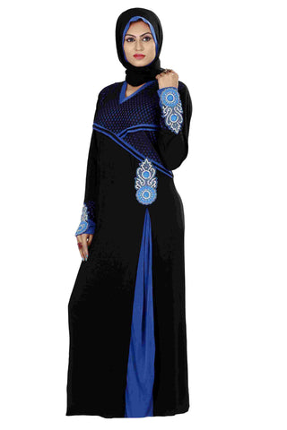 Latest Design Of Abaya Black & Egyptian Blue Colored Lycra Stitched Islamic Modern Clothing