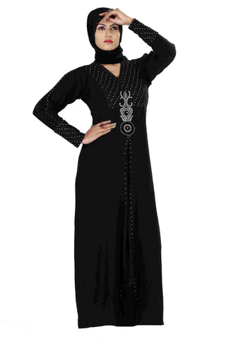 Latest Designer Abayas Lycra Stitched Black Abaya With Patch Work