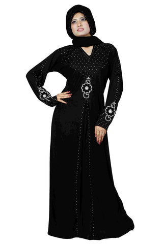 Latest Abaya Designs With Stones Black Colored Stitched Lycra Islamic Abaya