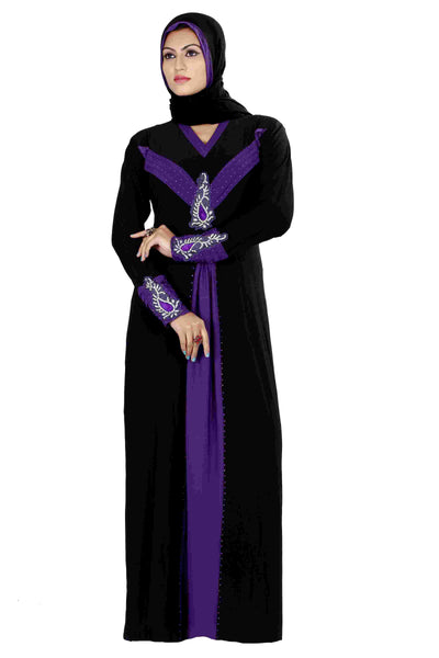Islamic Abaya Online Black & Purple Colored Stitched Lycra Abaya Dress