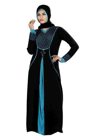 Latest Abaya Collection Black & Firozi Colored Lycra Stitched Abaya Dress