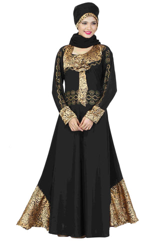 Latest Abaya Designs With Stones Black & Golden Colored Stitched Lycra Muslim Abaya Dress