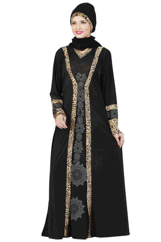 Latest Abaya Designs Black & Golden Colored Lycra Stitched Abaya