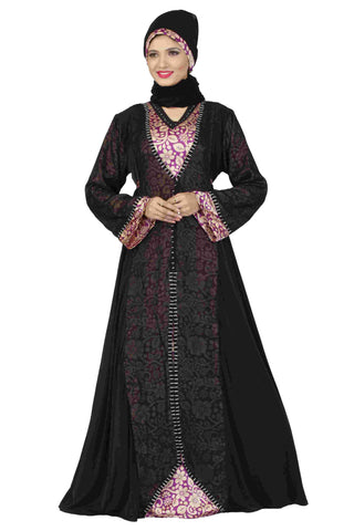 Islamic Abaya Online Black & Magenta Colored Lycra Stitched Abaya Dress