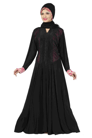 Muslim Abaya Dress Lycra Black & Neon Pink Colored Stitched Abaya Dress