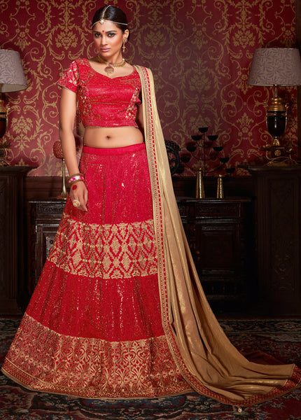 Urban-Naari-Cream-&-Red-Colored-Net-Heavy-Embroidered-Semi-Stitched-Lehenga-Choli