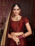 Urban-Naari-Maroon-Colored-Silk-Heavy-Embroidered-Semi-Stitched-Lehenga-Choli