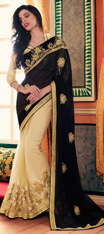 Designer Black & Beige Heavy Embroidered Fancy Party Wear Net Sarees With Blouse Material
