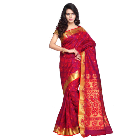 Exclusive Designer Red Kanjivaram Art Silk Paithani Theme Border & Rich Zari Butta Party Wear Saree