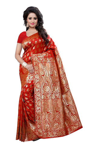 Designer Orange Self Art Design Embroidered Partywear Banarasi Art Silk Saree With Blouse
