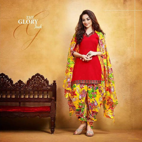 Holi Offer Red Lawn Printed Punjabi Patiyala Dress With Lace Border Un-Stitched Dress Material For Women