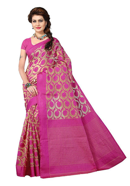Designer Pink Color Banarasi Art Silk Partywear With Golden Color Design Pattern