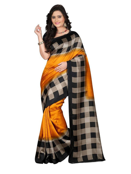 Art Silk Sarees Yellow & Black Color Bhagalpuri Silk Sarees