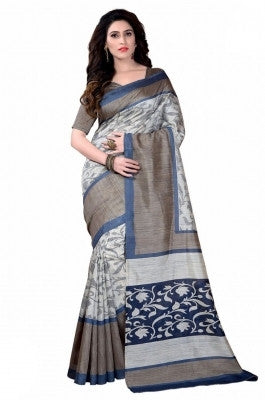 Urban-Naari-Off-White-Colored-Bhagalpuri-Silk-Printed-Saree