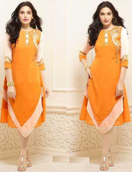 Designer Georgette Kurti Orange Colored Embroidery Cut & Patch Work Stitched Georgette Long kurtis