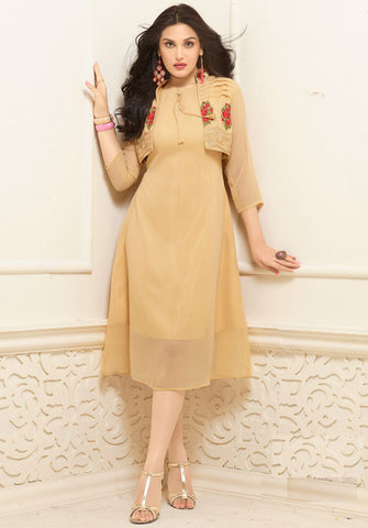 Beige Colored Designer Long Georgette Kurtis With Floral Embroidery Work Stitched Jacket Style Kurti