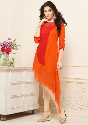 Long Kurti Georgette Red & Orange Colored High- Low Pattern With Embroidery Work Stitched Kurti