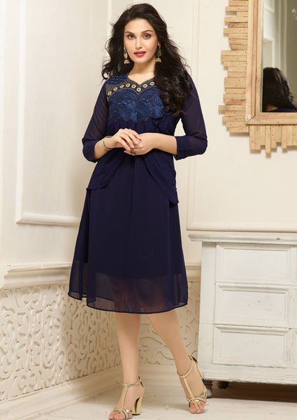 Designer Georgette Kurti Navy Blue Colored Partywear Stitched Kurti With Embroidery