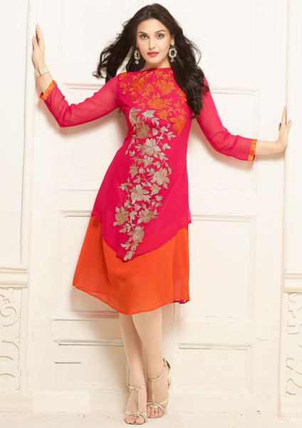 Partywear Pink & Orange Colored Long Kurti Georgette With Floral Embroidery Work Stitched Kurti
