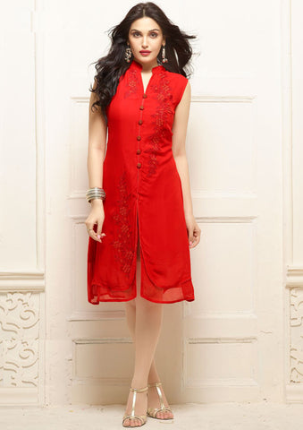 Designer Georgette Kurti Red Colored Stitched Kurti With Floral Embroidery Work