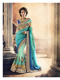 Urban Naari Blue And Green Colored Satin And Pure Georgette Sarees